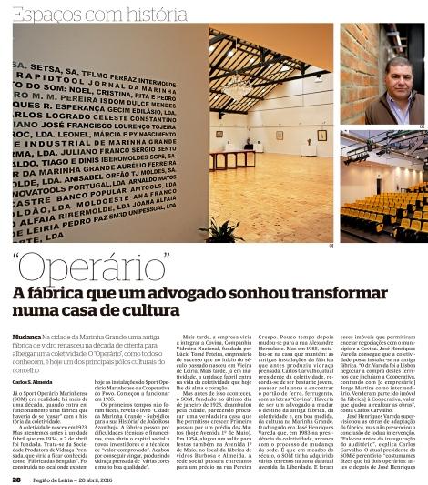 Artigo do Jornal Região de Leiria do dia 28.04.16 (1)